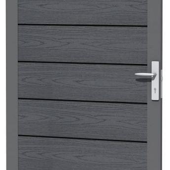 Composiet deur met houtmotief in aluminium frame 90 x 183 cm, antraciet.