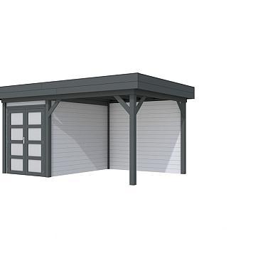 Vuren Topvision Zwaluw, 200 x 300 en luifel 300 cm, wanden lichtgrijs en basis antraciet.
