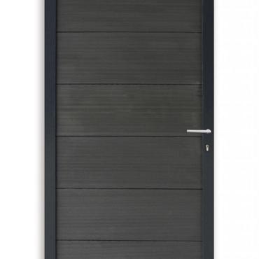 561 WPC Fortedeur geheel Antraciet met Aluminium kader incl hang en sluitwerk 180x90cm
