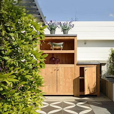 Buitenkeuken enkel 90 Excellent, 90 x 61,5 x 56 cm (HxBxD) met schap en deur, onbehandeld.