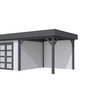 Vuren Topvision Bosuil, 300 x 300 en luifel 300 cm, wanden lichtgrijs en basis antraciet.