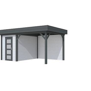 Vuren Topvision Kiekendief, 200 x 300 en luifel 300 cm, wanden lichtgrijs en basis antraciet.