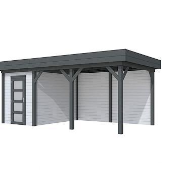 Vuren Topvision Kiekendief, 200 x 300 en luifel 400 cm, wanden lichtgrijs en basis antraciet.