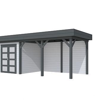 Vuren Topvision Kolibri, 250 x 250 en luifel 400 cm, wanden lichtgrijs en basis antraciet.