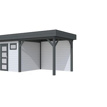 Vuren Topvision Kuifmees, 250 x 250 en luifel 300 cm, wanden lichtgrijs en basis antraciet.