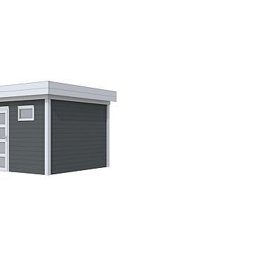 Vuren Topvision Tapuit, 300 x 300 cm, wanden antraciet en basis lichtgrijs.