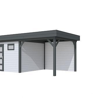 Vuren Topvision Tapuit, 300 x 300 en luifel 300 cm, wanden lichtgrijs en basis antraciet.