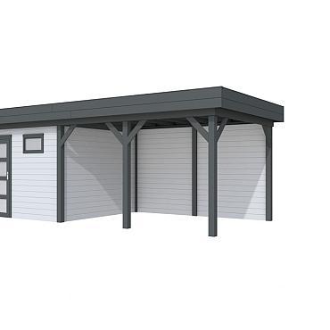 Vuren Topvision Tapuit, 300 x 300 en luifel 400 cm, wanden lichtgrijs en basis antraciet.