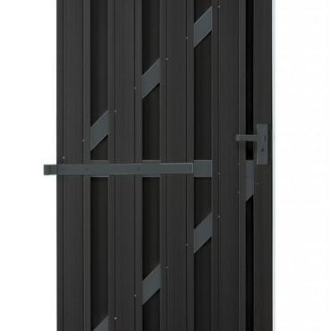 557 WPC Design Deur Recht geheel Antraciet incl hang en sluitwerk en stootlat 180x90cm