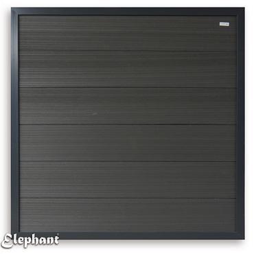 560 WPC Fortescherm geheel Antraciet met Aluminium kader 180x180cm